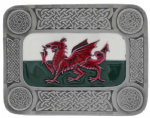 Welsh Celtic Flag Belt Buckle with display stand. Code KH5